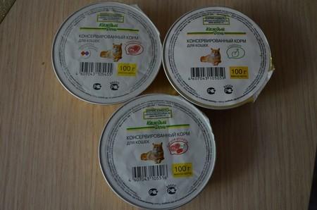 упаковки с кормом