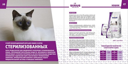 Полнорационный сухой корм для стерилизованных кошек Sirius